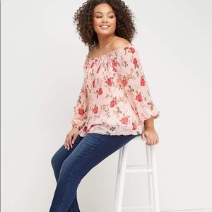 Lane Bryant Printed Pleated Off-The-Shoulder Top